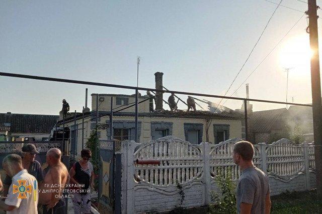 В селе Грушевка Криворожского района сгорела крыша дома